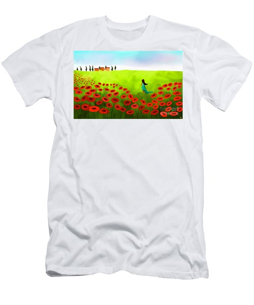 Strolling Among The Red Poppies Men's T-Shirt (Athletic Fit)