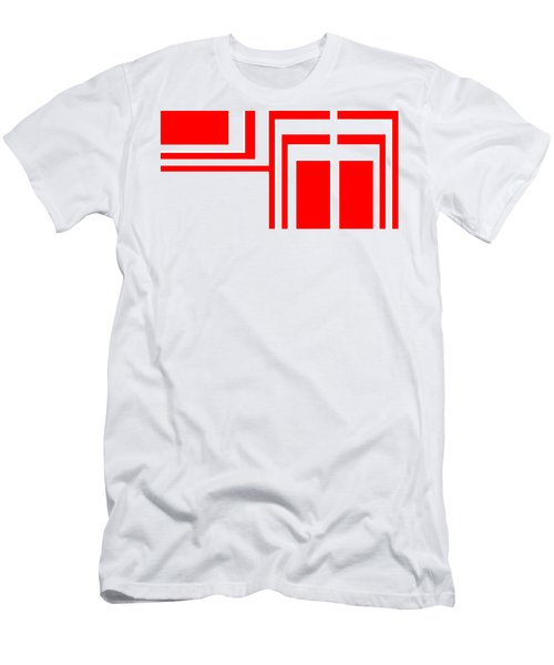 Men's T-Shirt (Slim Fit) featuring the digital art Study In White And Red by Cletis Stump