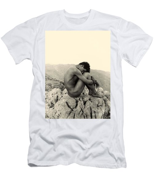Study Of A Male Nude On A Rock In Taormina Sicily Men's T-Shirt (Athletic Fit)
