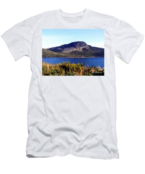 Men's T-Shirt (Slim Fit) featuring the painting Sugarloaf Hill In Summer by Barbara Griffin