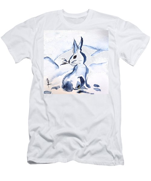 Sumi-e Snow Bunny Men's T-Shirt (Athletic Fit)