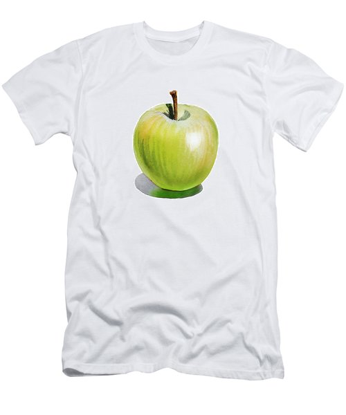 Men's T-Shirt (Slim Fit) featuring the painting Sun Kissed Green Apple by Irina Sztukowski