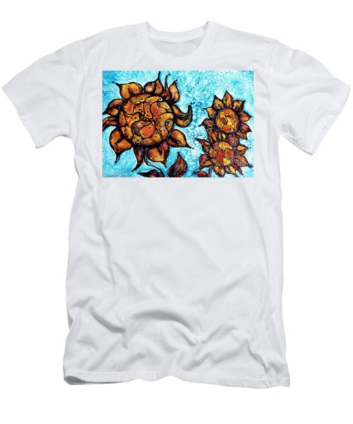 Sunflower Patchwork Delight Alcohol Inks Men's T-Shirt (Athletic Fit)