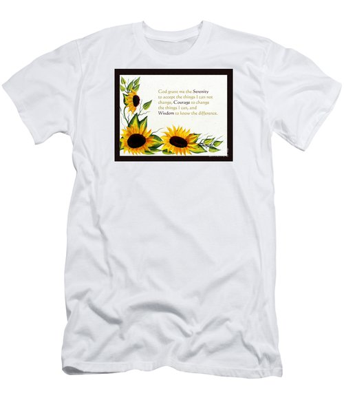 Sunflowers And Serenity Prayer Men's T-Shirt (Slim Fit) by Barbara Griffin
