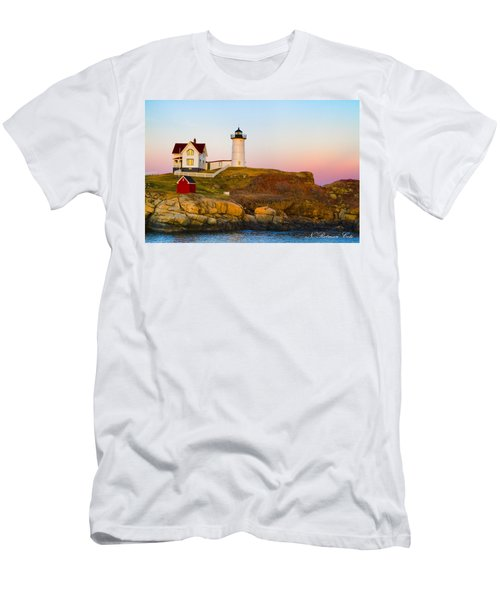 Sunset At Nubble Lighthouse Men's T-Shirt (Athletic Fit)