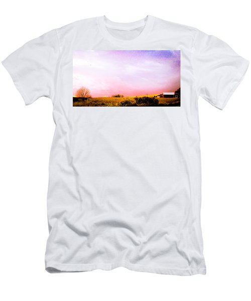 Sunset At The Farm Men's T-Shirt (Slim Fit) by Sara Frank