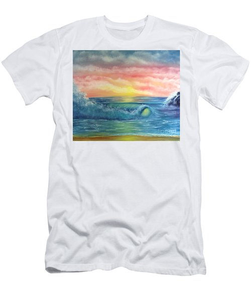 Sunset At The Seashore  Men's T-Shirt (Slim Fit) by Becky Lupe