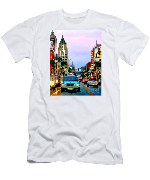 Men's T-Shirt (Slim Fit) featuring the digital art Sunset On Hollywood Blvd by Jennie Breeze