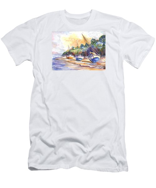 Men's T-Shirt (Slim Fit) featuring the painting Sunset Sail On Brittany Beach  by Carol Wisniewski