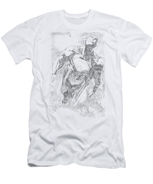 Superman - Exploding Space Sketch Men's T-Shirt (Athletic Fit)