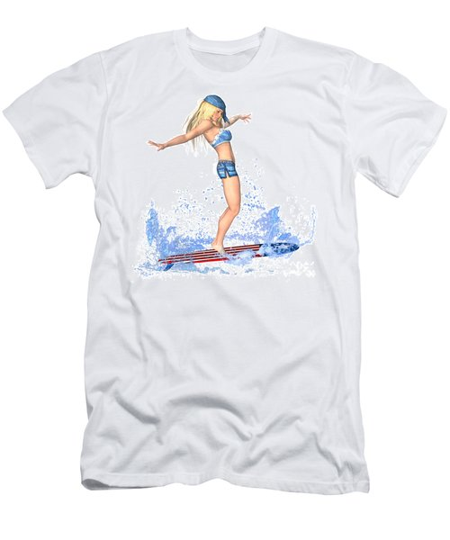 Surfing Girl Men's T-Shirt (Slim Fit) by Renate Janssen