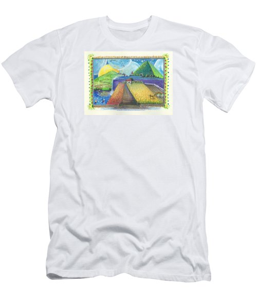 Men's T-Shirt (Slim Fit) featuring the painting Surreal Landscape 1 by Christina Verdgeline