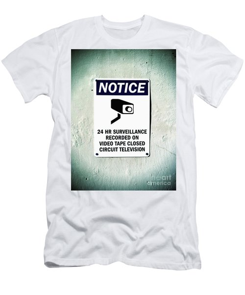 Surveillance Sign On Concrete Wall Men's T-Shirt (Athletic Fit)