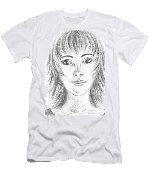 Men's T-Shirt (Slim Fit) featuring the drawing Portrait Stunning by Teresa White