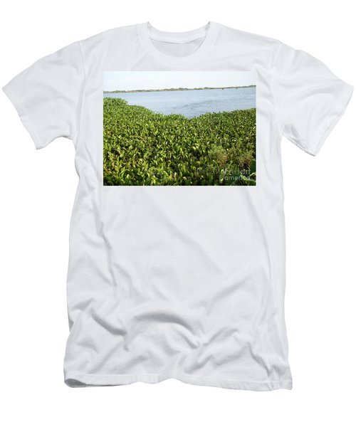 Men's T-Shirt (Slim Fit) featuring the photograph Swamp Hyacinths Water Lillies by Joseph Baril