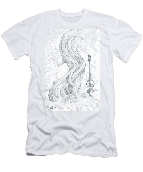Men's T-Shirt (Slim Fit) featuring the drawing Sylvia And Her Lamp Drawing by Curtiss Shaffer
