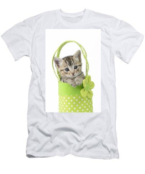 Tabby Kitten In Green Bag Men's T-Shirt (Athletic Fit)