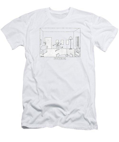 Tai Chi Vs. Chi Tea A Woman Practices Tai Chi Men's T-Shirt (Athletic Fit)