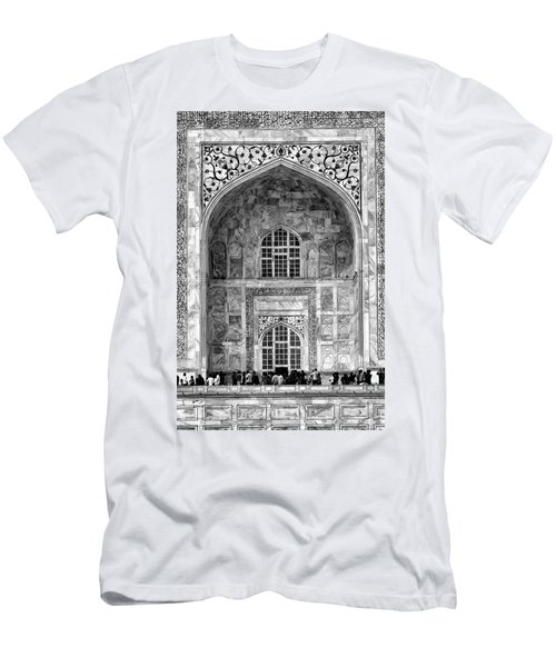 Taj Mahal Close Up In Black And White Men's T-Shirt (Slim Fit) by Amanda Stadther