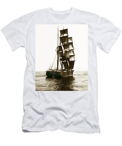Men's T-Shirt (Slim Fit) featuring the photograph Tall Ship Germania Out Of San Francisco California  Circa 1900 by California Views Mr Pat Hathaway Archives