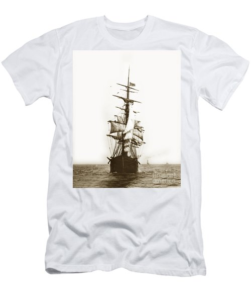 Men's T-Shirt (Slim Fit) featuring the photograph Tall Ship Sailing Out Of San Francisco California Circa 1900 by California Views Mr Pat Hathaway Archives