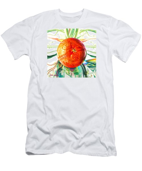 Men's T-Shirt (Slim Fit) featuring the painting Tangerine Orb Nouveau by Robin Moline