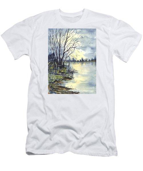 Moonlight Reflections In Loch Tarn In Scotland Men's T-Shirt (Slim Fit) by Carol Wisniewski