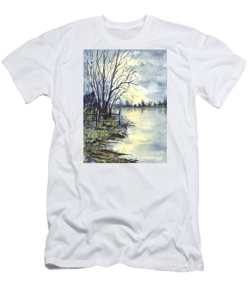 Moonlight Reflections In Loch Tarn In Scotland Men's T-Shirt (Athletic Fit)