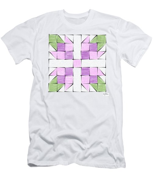 Tea Rose Quilt Block Men's T-Shirt (Athletic Fit)
