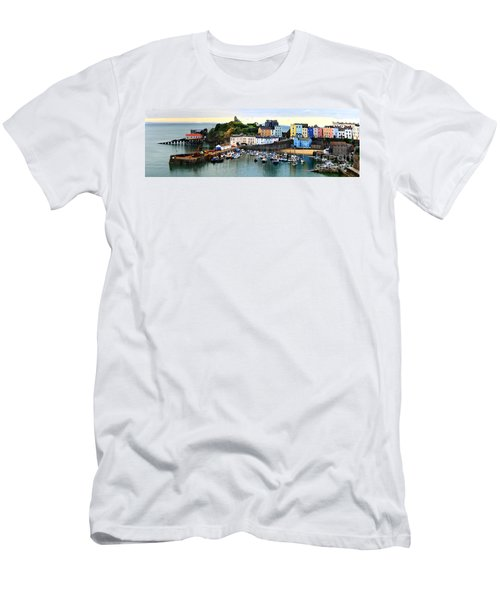 Tenby Harbour Panorama Men's T-Shirt (Athletic Fit)
