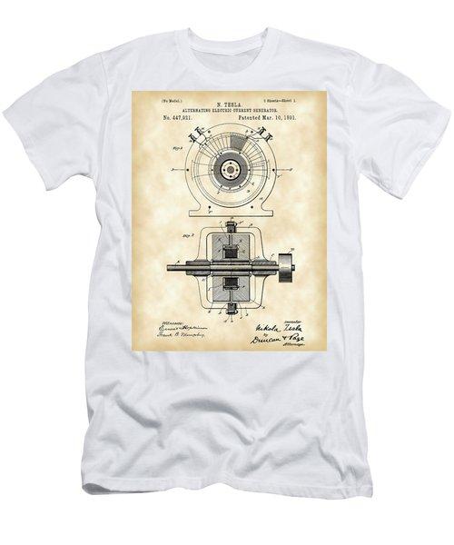Tesla Alternating Electric Current Generator Patent 1891 - Vintage Men's T-Shirt (Athletic Fit)