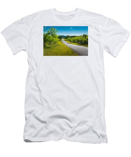 Texas Hill Country Road Men's T-Shirt (Slim Fit) by Darryl Dalton