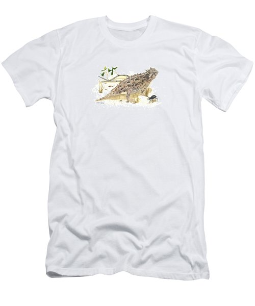 Texas Horned Lizard Men's T-Shirt (Slim Fit) by Cindy Hitchcock