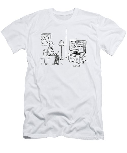 Text On The Tv: English People With Servants Men's T-Shirt (Athletic Fit)