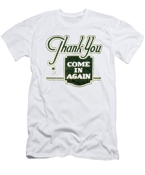 Men's T-Shirt (Slim Fit) featuring the digital art Thank You-come In Again by Cathy Anderson