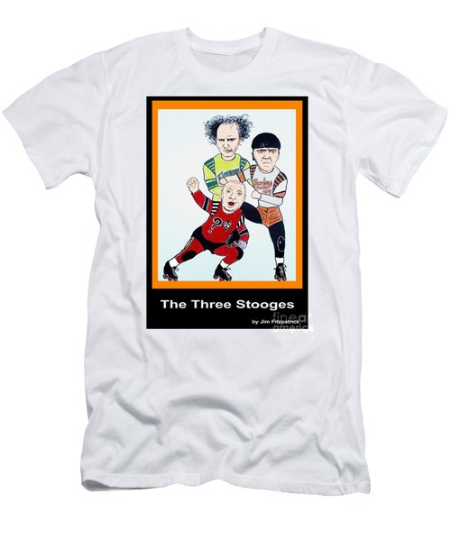 The 3 Stooges Playing Roller Derby Men's T-Shirt (Slim Fit) by Jim Fitzpatrick