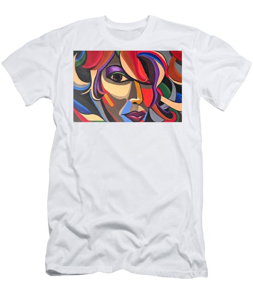 Abstract Woman Art, Abstract Face Art Acrylic Painting Men's T-Shirt (Athletic Fit)