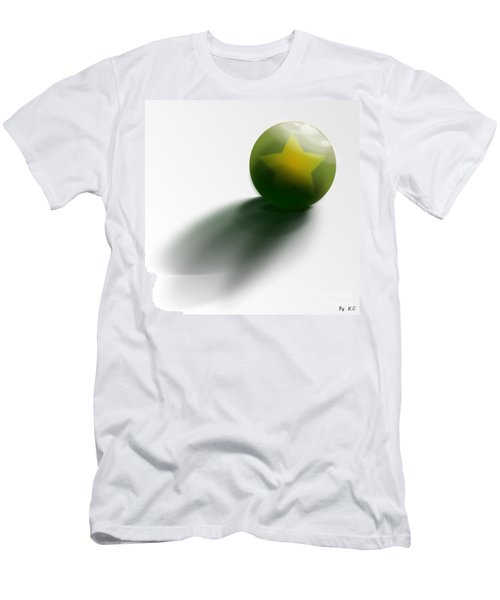Men's T-Shirt (Slim Fit) featuring the digital art Green Ball Decorated With Star White Background by R Muirhead Art