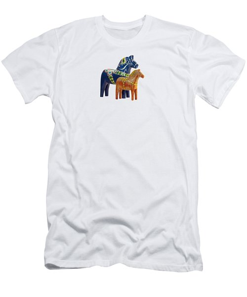 The Blue And Red Dala Horse Men's T-Shirt (Athletic Fit)