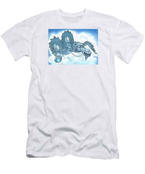 Men's T-Shirt (Slim Fit) featuring the drawing The Blue Dragon by Troy Levesque