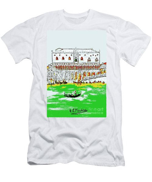 Men's T-Shirt (Slim Fit) featuring the painting The Doge's Palace by Loredana Messina