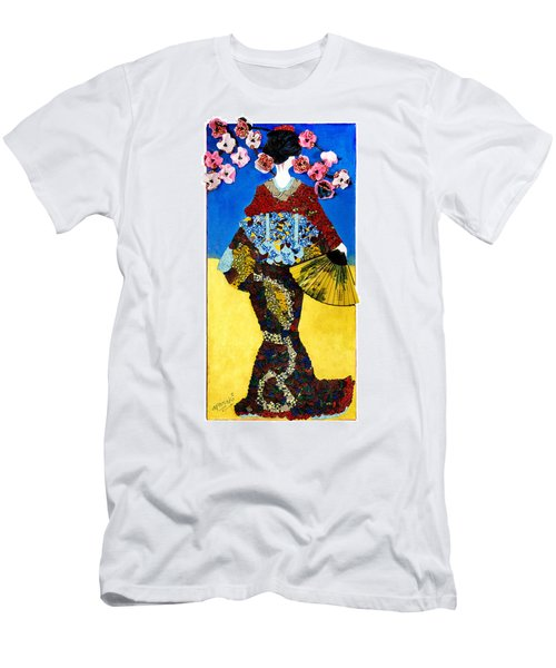 Men's T-Shirt (Athletic Fit) featuring the tapestry - textile The Geisha by Apanaki Temitayo M