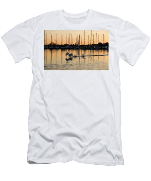 The Golden Takeoff - Swan Sunset And Yachts At A Marina In Toronto Canada Men's T-Shirt (Athletic Fit)