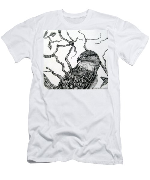 Men's T-Shirt (Slim Fit) featuring the drawing The Hawk by Alison Caltrider