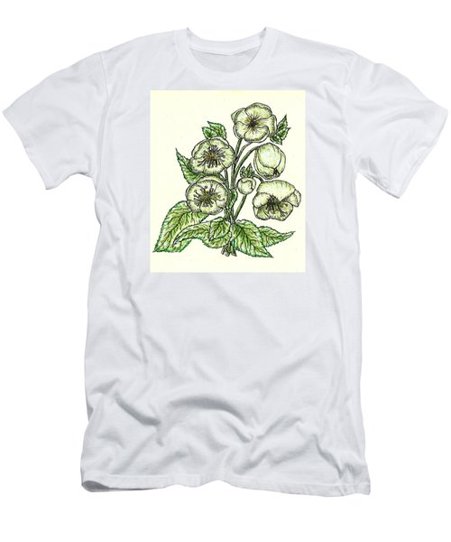 Men's T-Shirt (Slim Fit) featuring the drawing The Helleborous by VLee Watson