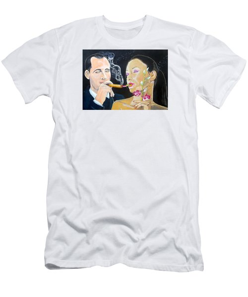 Men's T-Shirt (Slim Fit) featuring the painting The Kiss Edge Listen With Music Of The Description Box by Lazaro Hurtado