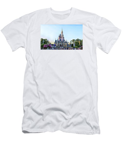 The Magic Kingdom Castle On A Beautiful Summer Day Horizontal Men's T-Shirt (Slim Fit) by Thomas Woolworth