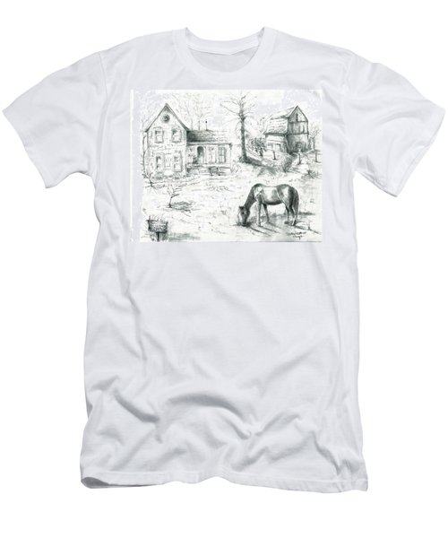 The Old Horse Farm Men's T-Shirt (Slim Fit) by Bernadette Krupa