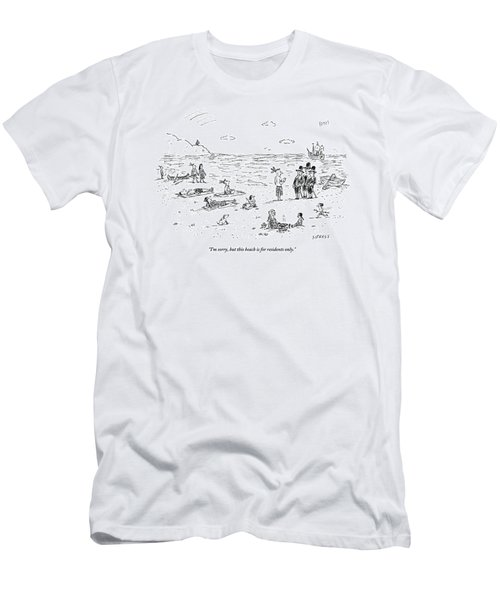 The Pilgrims Arrive At A Native American Beach Men's T-Shirt (Athletic Fit)