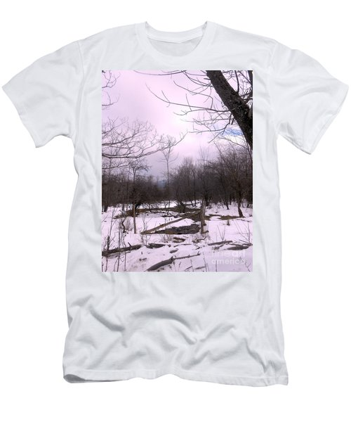 The Pink Winter Light On The Mountain Top Men's T-Shirt (Athletic Fit)
